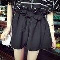 Fanala hot shorts estilo coreano mujeres de la moda de verano de la alta cintura elástica pantalones cortos sueltos blanco cinturón negro de color caqui blanco cortocircuitos de la marca