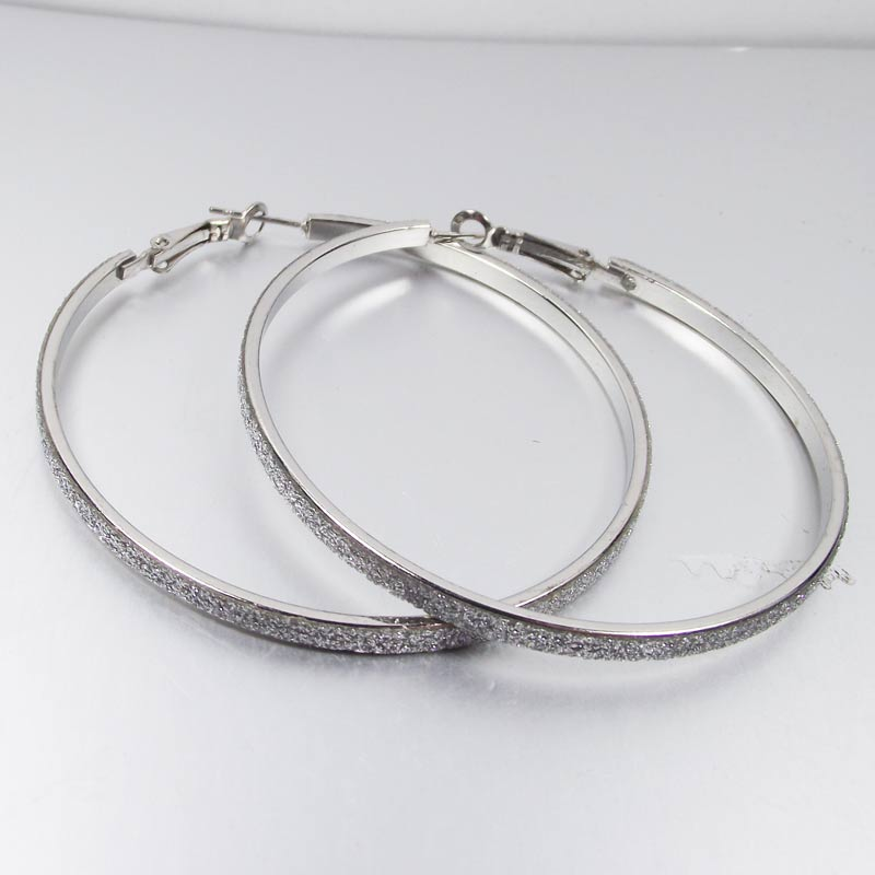 1 Pair 60mm Hoop Earring Silver Gold Dull Color Basketball Wives Large Earring Elegant Jewelry