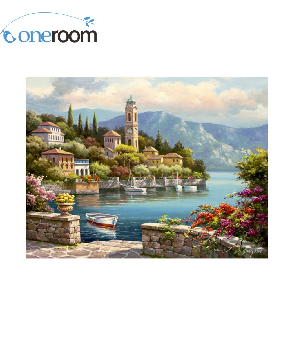 9-44 Needlework Crafts Embroidery Quality Counted Cross Stitch Kit Set Oil Painting 14 ct Village Clock Tower