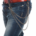 Men's Solid Metal Three Layers Gun Link Rocker Long Jeans Chains Two Skulls Joint Heavy Punk Hip-hop Waist Chain J72