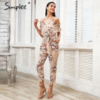 Simplee Sexy Cold Shoulder Long Jumpsuit Romper Boho Floral Print Ruffle Backless Playsuit Elegant Summer Beach