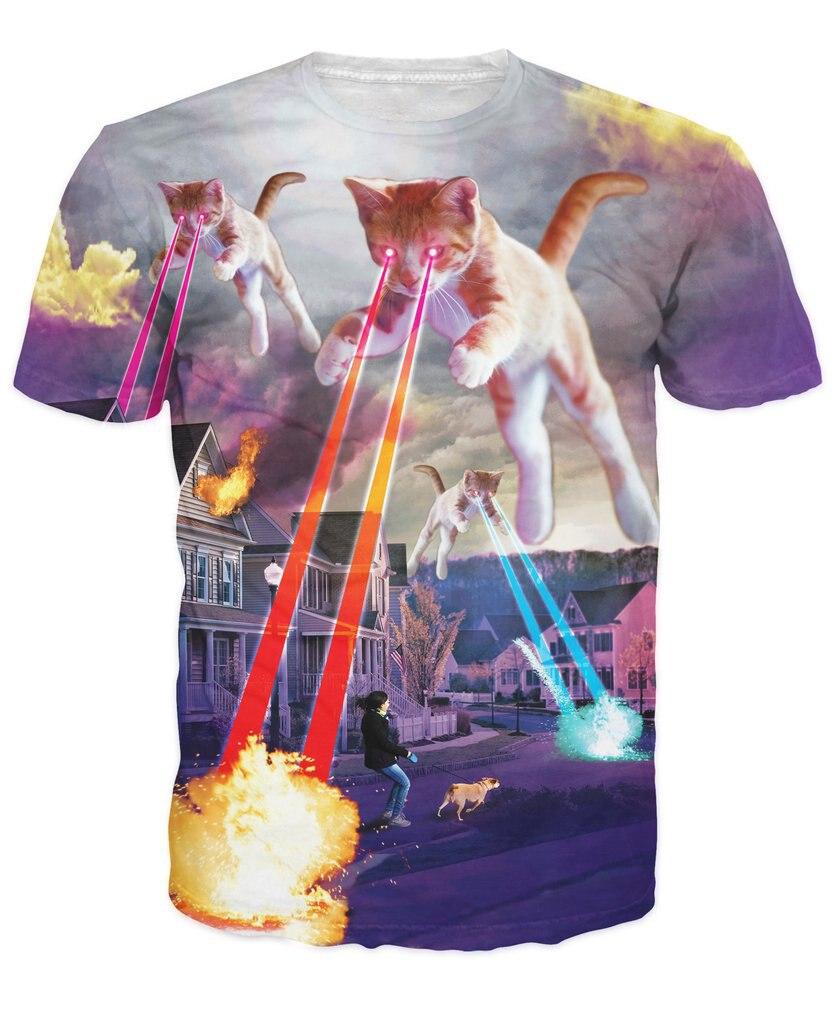Kitten Invasion T-Shirt kitty destruction and lasers SWEET T SHIRT 3d Print t shirt Women's Fashion Clothing tees tshirts