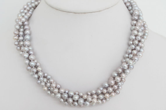 New Arriver Beautiful Twisted Multi Strand Grey Lilac Freshwater Pearl Necklace