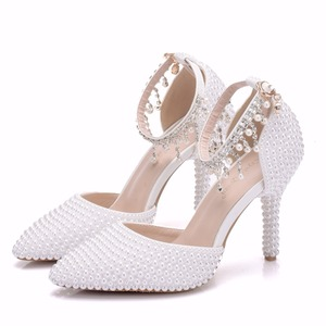 Image 3 - Crystal Queen Pointed Toe White Pearl Chain Wedding Shoes Thin Heels Party Sandals With Matching Bags With Purse Dress Shoes