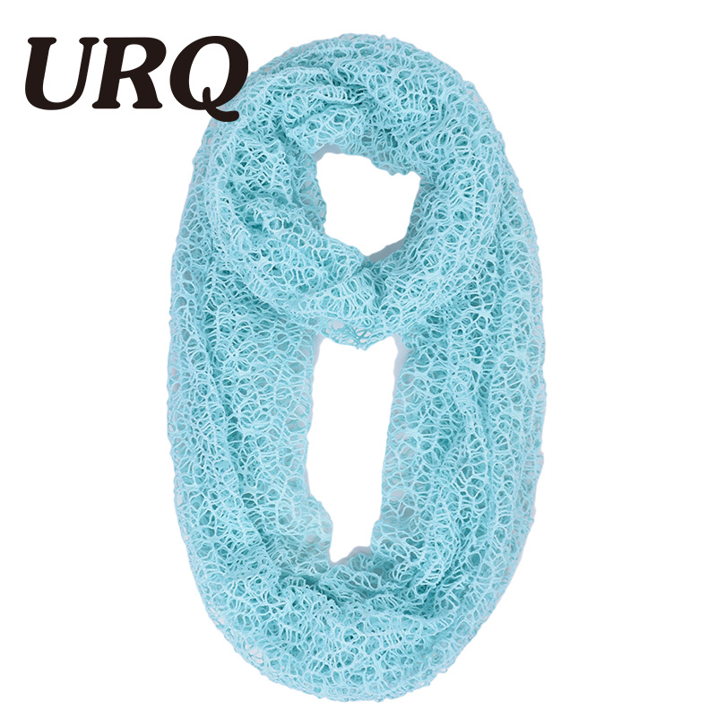 6c459b29da URQ Women Ring Scarves Handmade Wraps Hollow Out Short Mesh Shawl ...