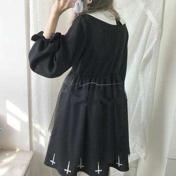Harajuku Street Fashion Cross Cosplay Female Dress Japanese Soft Sister Gothic Style Star Tulle Dress Lolita Cute Girl Dresses 4