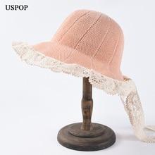 USPOP 2019 New summer hat lace-up sun hats for women sweet lace brim straw hats patchwork wide brim beach hat