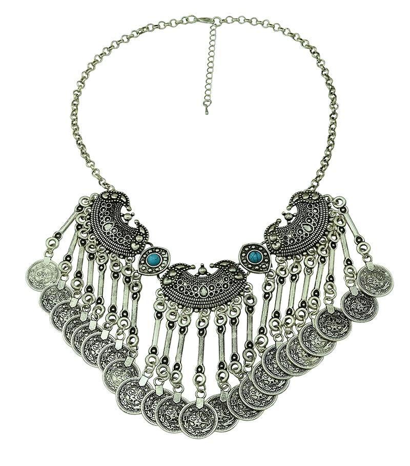 Bohemian Fringe Coin Collar Statement Necklace Boho Gypsy Antalya Ebony Silver Festival Coachella Turkish India Ethnic