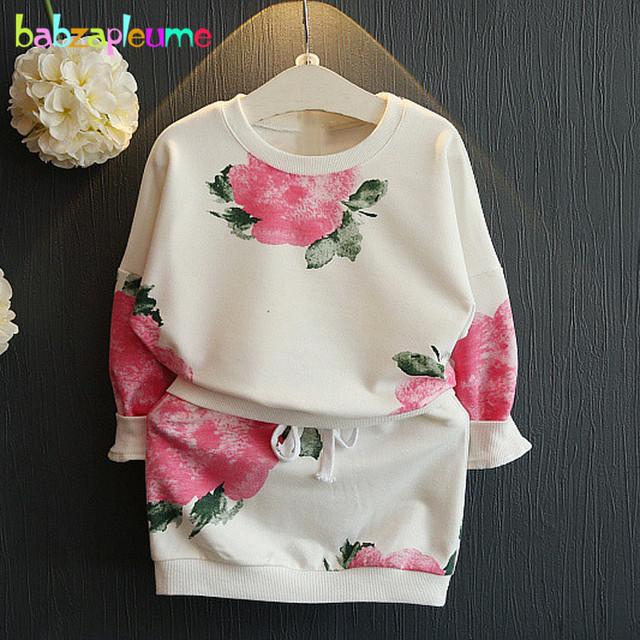 2 UNIDS/2-6Years/Primavera Otoño Niños Coreanos Ropa de Flores de Moda de la camiseta + Falda Del Bebé Niñas Traje Ropa de niños Sets BC1348
