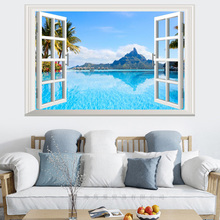 False window natural landscape Bali Island 3D wall sticker PVC Material wall poster For Living room Bedroom Decoration Murals цена