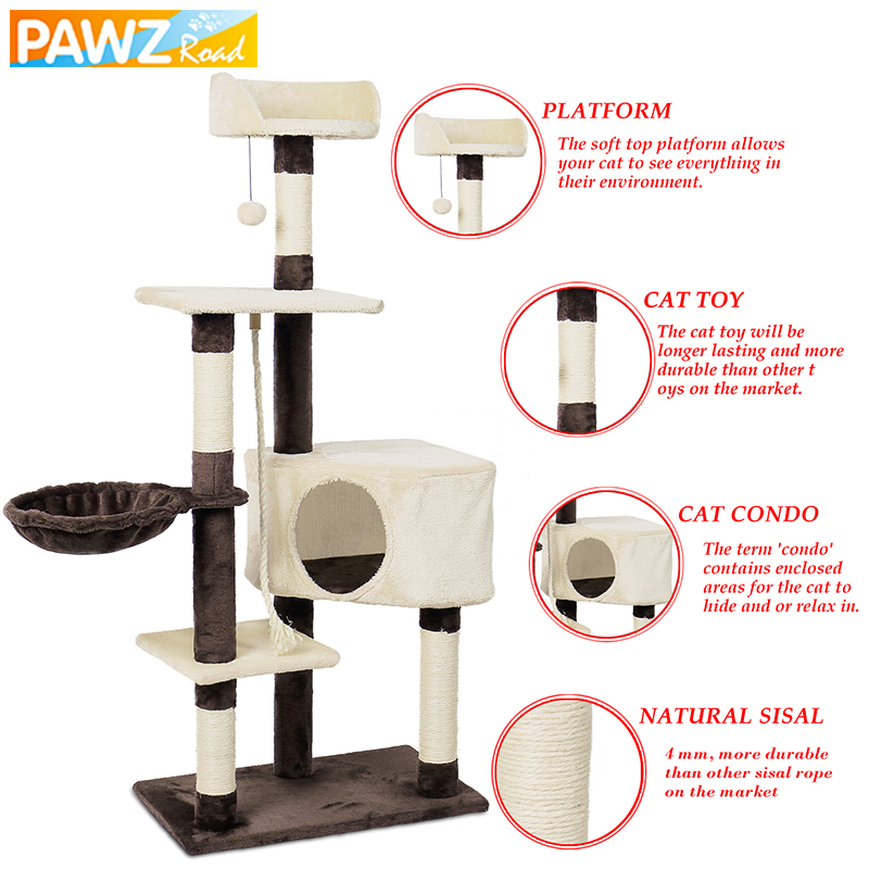 Domestic Delivery Cat Tree Toy House with Hanging Ball Kitten Furniture Scratchers Solid Wood for Cats