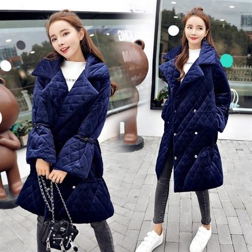 Femmes Veste 2018 Bas noir bleu Lâche Parka D'hiver Beige Chaude De Nouveau Le Mode Pardessus Manteau Femme Vers Tempérament qnArFSqY4