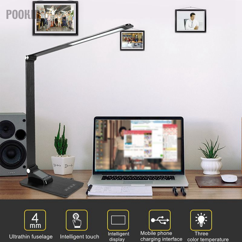 LED Aluminum Alloy Foldable Desk Lamp Eye protected Book Table Lamp Led Light Touch Control Dimmable Brightness and Color