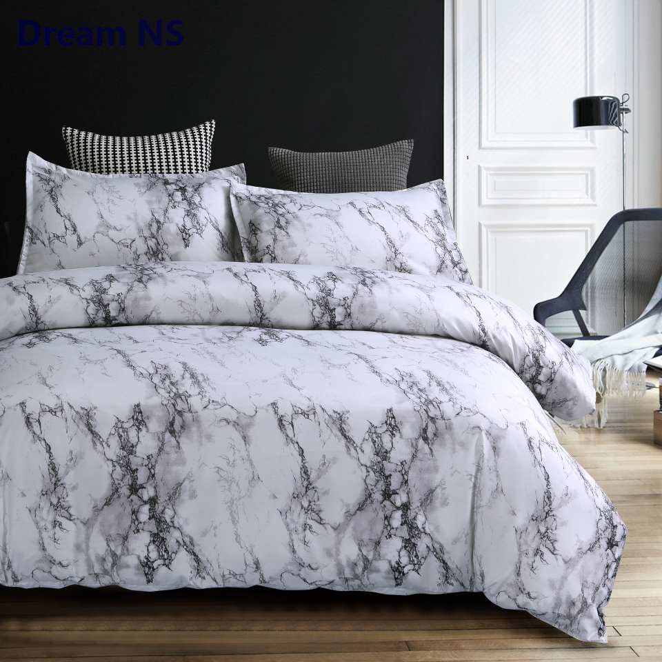 AHSNME White Marble Duvet Cover Sets US Australia Size Bedding Set King Queen for Double Bed