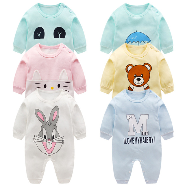 100% Cotton Long Sleeve Spring Autumn Baby Rompers