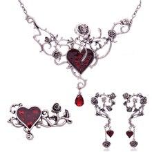 Vintage Heart Statement Jewelry Set For Women Gothic Punk Heart Choker Steampunk Jewelry