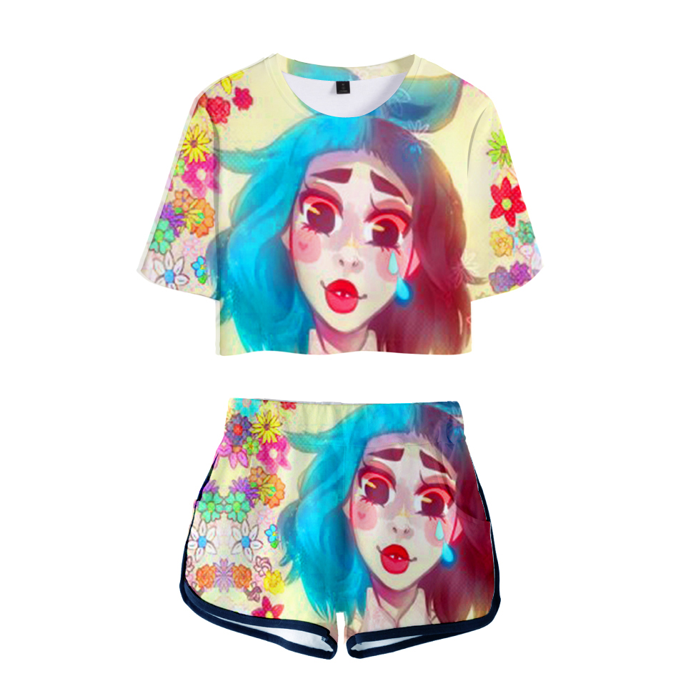 LUCKYFRIDAYF New 3D Summer Pop Shorts And T shirts CRY BABY print Fashion Women Two Piece Sets Cool Skull Print Crop Top Clothes in Women 39 s Sets from Women 39 s Clothing