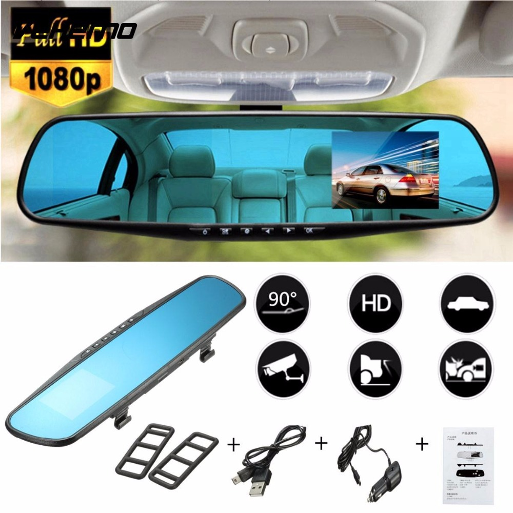 1080P Car DVR DVRs Camera Registrator Dash Cam 4.3 inch Rearview Mirror Digital Video Recorder 140 Degree Night Vision Camcorder ...