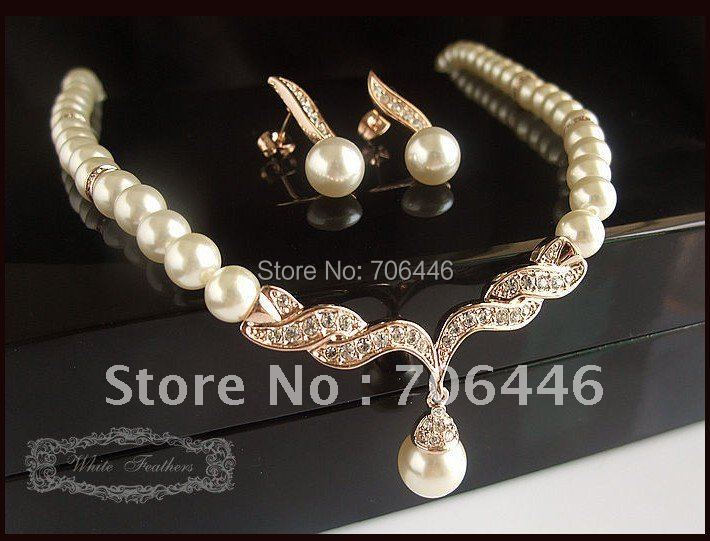 Fress Shipping ! Rose Gold Cream Pearl Rhinestone Bridal Necklace and Earring Wedding Jewelry Set