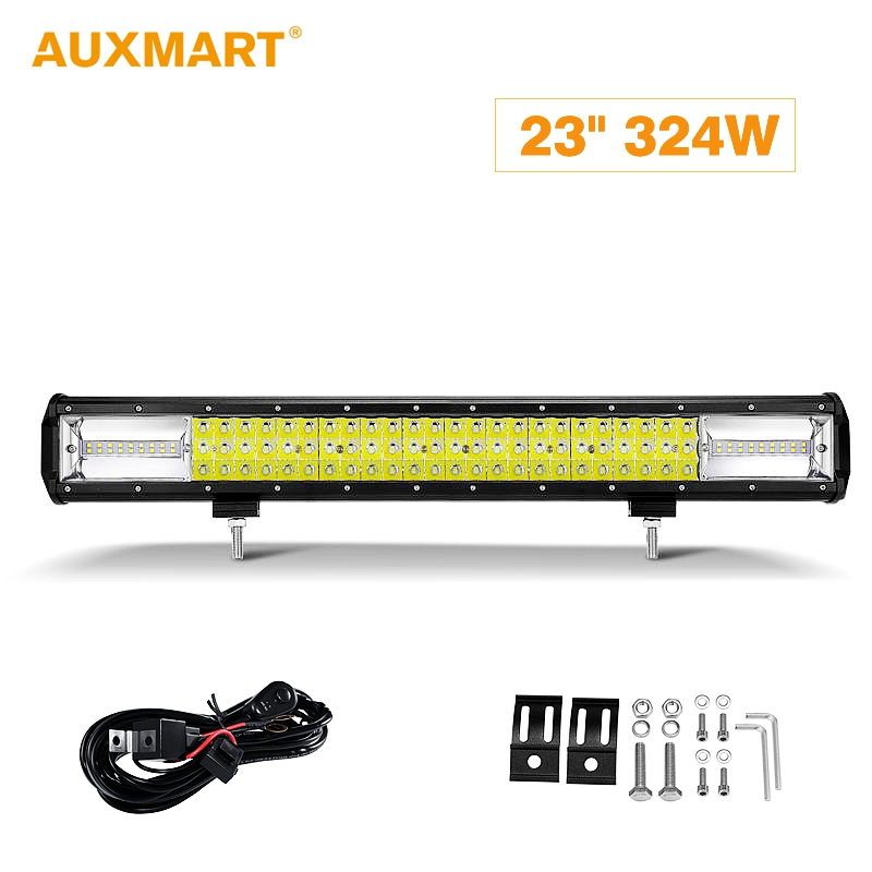 Auxmart Work Light 23inch 324W Triple Row Light Bar LED Combo Beam Offroad Led Work Lamp 12v 24v Led Bar Driving Lamp Truck SUV auxmart 22 led light bar 3 row 324w for jeep wrangler jk unlimited jku 07 17 straight 5d 400w led light bar mount brackets