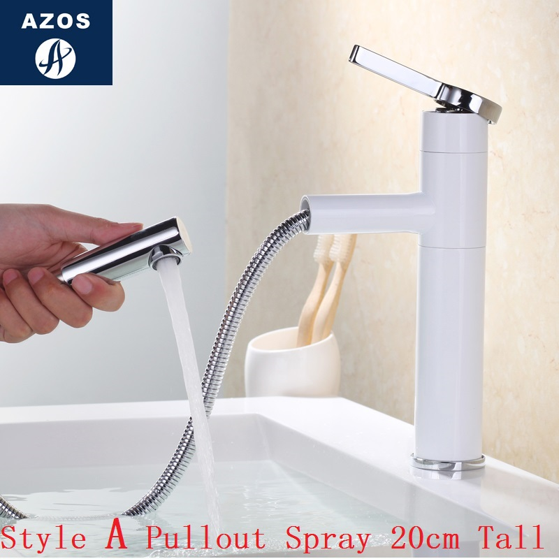 Bathroom Sink Faucets 20cm Tall Swivel Pull Out Hose Spray Single Handle White Porcelain Solid Br Deck Mount Mixers Clmp018a In Basin From Home