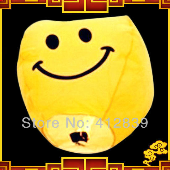 Free shipping 35pcs/lot Yellow Smiling Face Sky Chinese Lanterns Wedding Celebration Sky Lanterns Paper Lantern