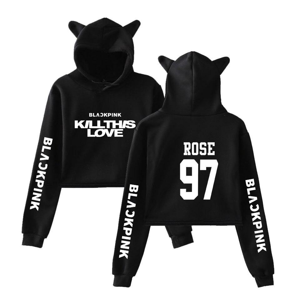 2019 2019 Black Pink New Song KILL THIS LOVE Print Cat Crop Top Women Summer Pop Hoodies Sweatshirt Sexy K-pops Hooded Plus Size