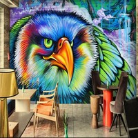 Custom HD 3D Colors Owl Gothic Graffiti TV Bar Cafe Background Wall Painting Wallpaper Papel