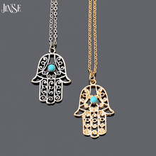 Vintage Silver Gold Plated Chain Fatima Hamsa Hand Pendants Necklace Luck Turquoise Palm Nice collares