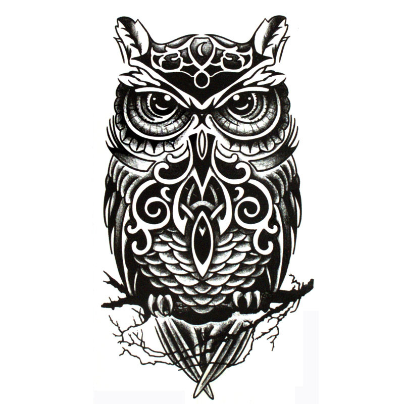 19*12cm Cool Black Owl Shaped Waterproof Temporary Tattoos Sticker for Women Men Tattoo Sleeve Sexy Tatto Body Art Accessories 5