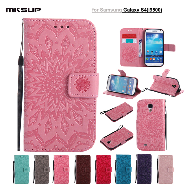 PU Leather Case Wallet Sunflower Embossed Phone Cases For Samsung Galaxy S4 GT-I9505 I9500 S IV Flip Stand Cover Coque Shell Bag