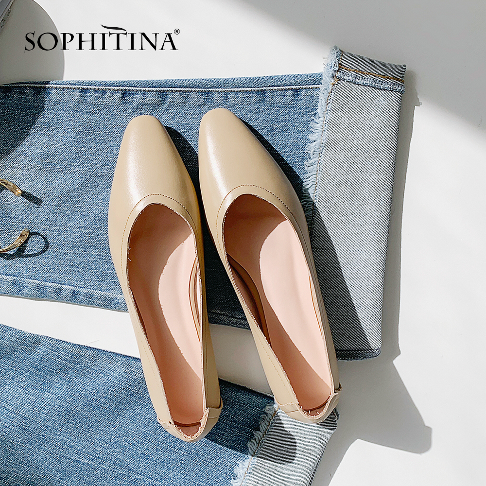 SOPHITINA 2019 Spring New Genuine Leather Flats Solid Slip on Elegant Female Shoes High quality Wear resistant Cow Leather MO10-in Women's Flats from Shoes    1
