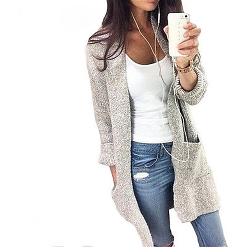 2017 New Women Cardigan Long Sleeve Knitted Sweater Outwear Loose Pocket Jacket Coat