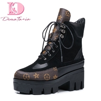 DoraTasia Brand design cow suede genuine leather big size 42 martin boots woman leisure fashion runway show women shoes boots