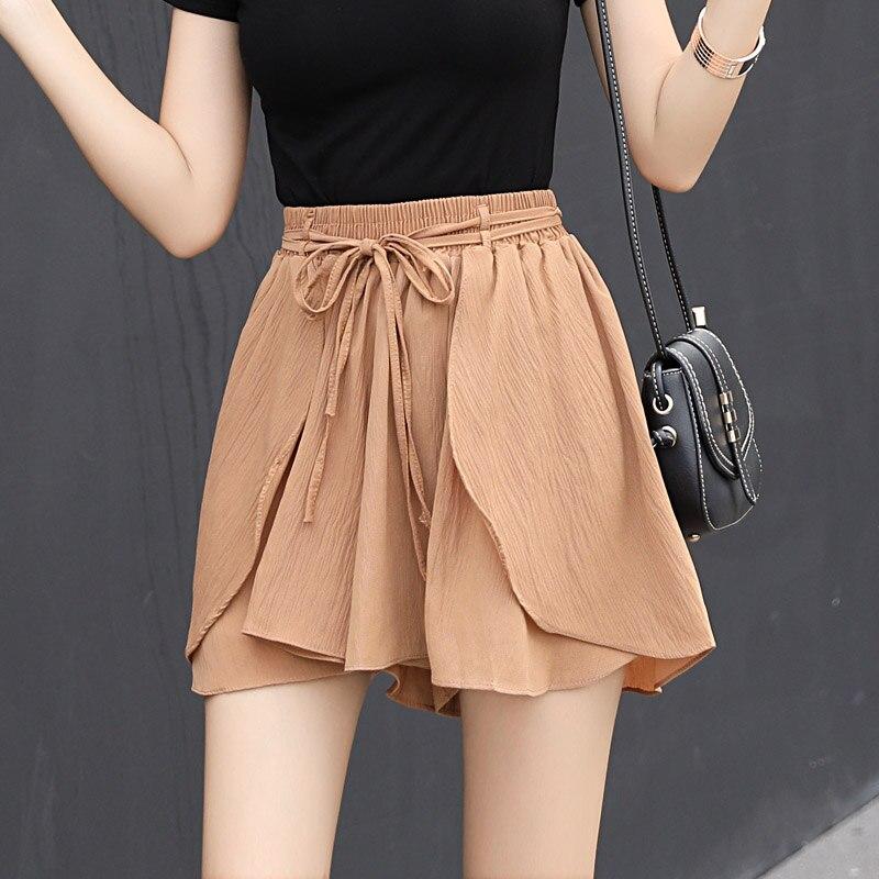 2018 New Summer Fashion Soft Chiffon Shorts Skirts Women Ruffles High Loose Shorts Elastic Waist Bow Sashes Shorts Skirt Mw218