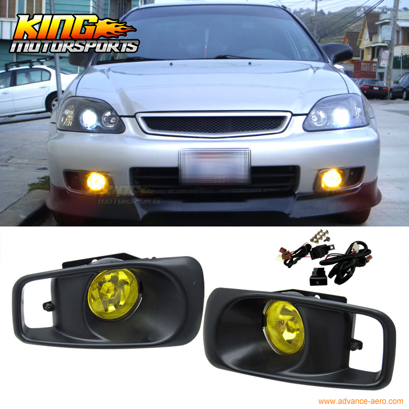 ФОТО For 1999-2000 Honda Civic EK JDM Driving Fog Lights & Switch Yellow Lens RH & LH USA Domestic Free Shipping Hot Selling