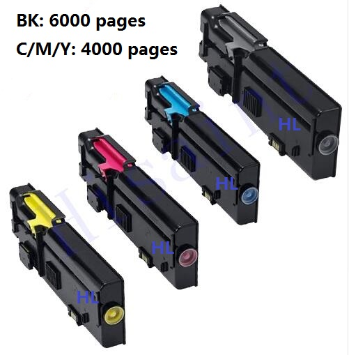 printer toner cartridge Compatible Dell C2660 C2660DN C2665DNF bk/m/c/y 4pcs/set 4 pack high quality toner cartridge for oki c5100 c5150 c5200 c5300 c5400 printer compatible 42804508 42804507 42804506 42804505