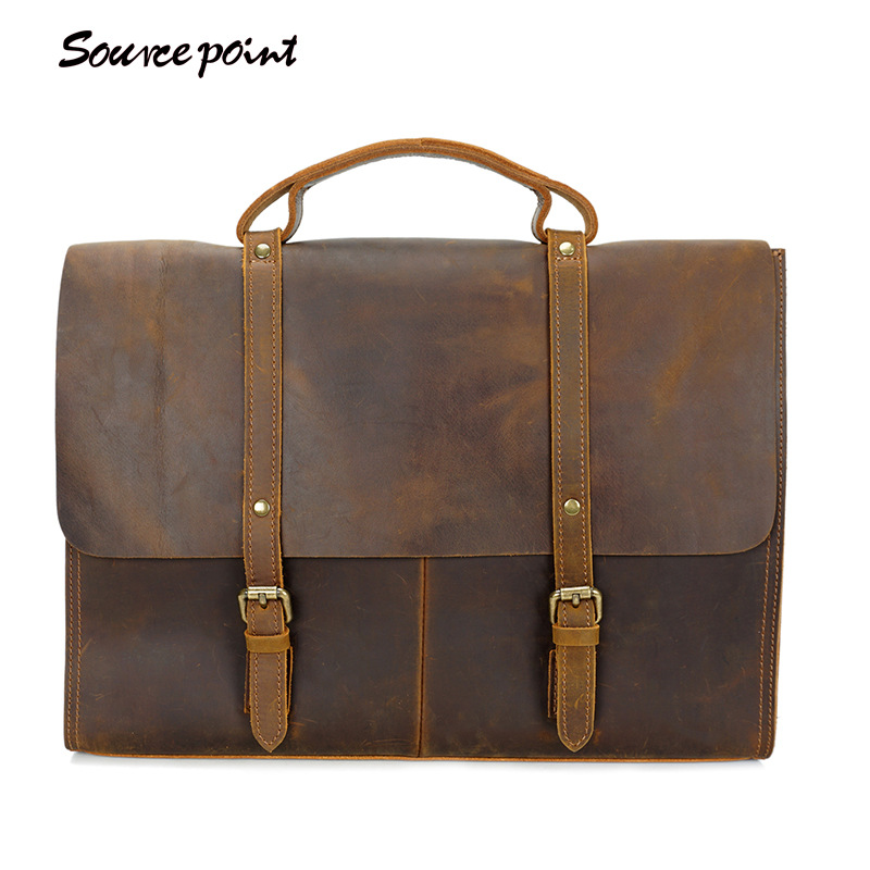 YISHEN Vintage Crazy Horse Leather Men s Briefcase Top handle Bags Fashion Business Crossbody Bags Male