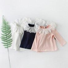 Джемпер для маленьких девочек Новинка года хлопок Песочная футболка осень младенческой кружево воротник одежда с длинными рукавами