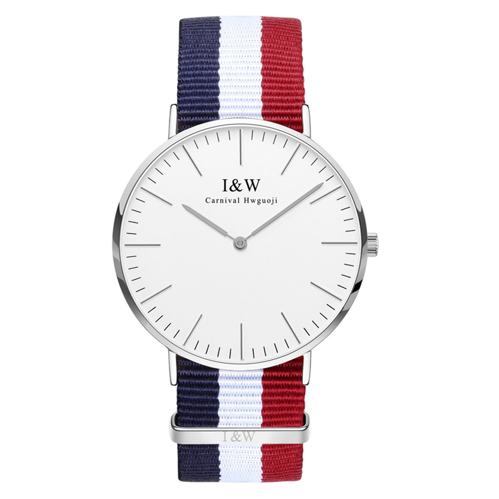 IW 8757G-2 men's Quartz-Watch fabric Classic Canterbury Stainless Steel Watch With Multi-Color Striped Band