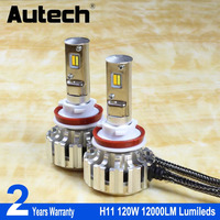 Autech 2 Pcs 120W H11 H9 H8 CSP Chips Led Headlight Car Auto All In One