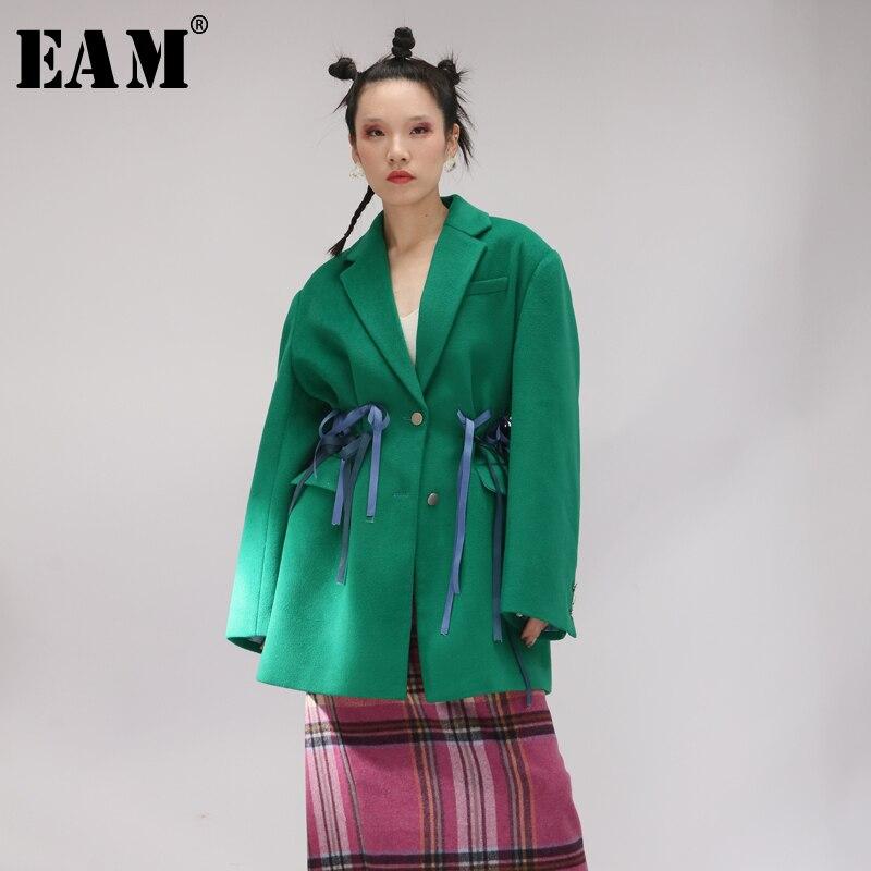 EAM 2019 New Spring Lapel Long Sleeve Green Large Size Back Fold Bandage Woolen Coat