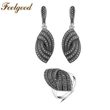 656b5eb54a9d Feelgood Vintage joyería Retro plata Color esmalte pendientes conjunto moda negro  cristal joyería conjuntos para mujer regalo de cumpleaños