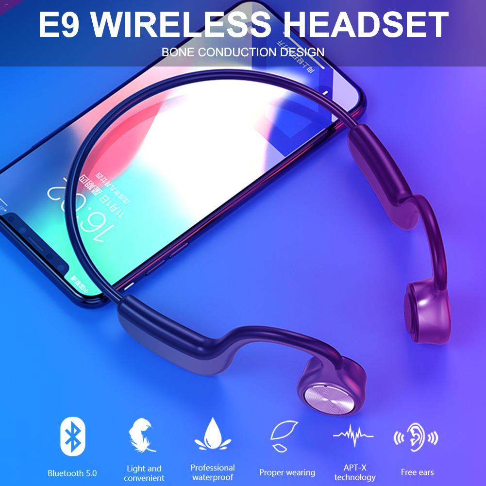 E9 Headphones Wireless Bluetooth 5.0 Bone Conduction Binaural Stereo Bone Headsets Wireless Sports Earphones Handsfree Headsets