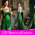 Keira Knightley Dress Spaghetti Straps V Neck Sexy Green Backless Celebrity Evening Gown Open Back Prom Dress vestidos de noche