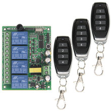 Universal AC 220V 10A Relay 4CH 4 CH Wireless RF Remote Control Switch Transmitter+Receiver Module,315 / 433 MHz