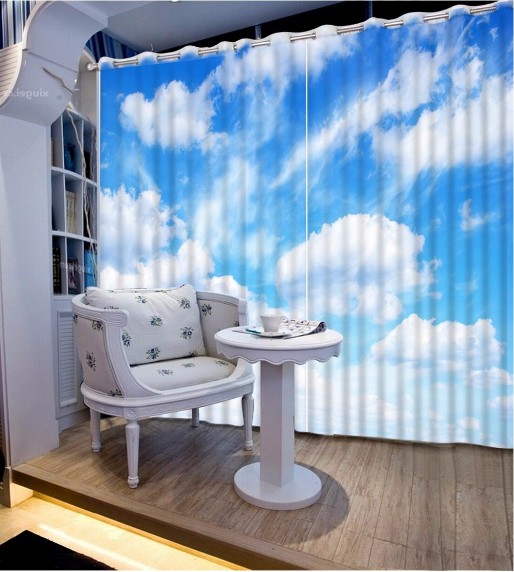 Custom 3d Modern Grommet Curtains Blue Sky And White Clouds 3d Curtains For Living Room Blackout