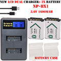 2x bateria 1600 mAh NP-BX1 np bx1 NPBX1 batería + LCD DUAL cargador usb para sony hdr-as100v as30 as15 dsc-rx100 hx400 wx350 cámara