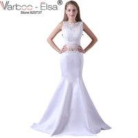 Satain VARBOO_ELSA Branco Elegante Da Sereia Vestido de Noite 2018 Lace Bordados Tassel Prom Dress 2 Peça de Cristal Frisado Vestido de Festa