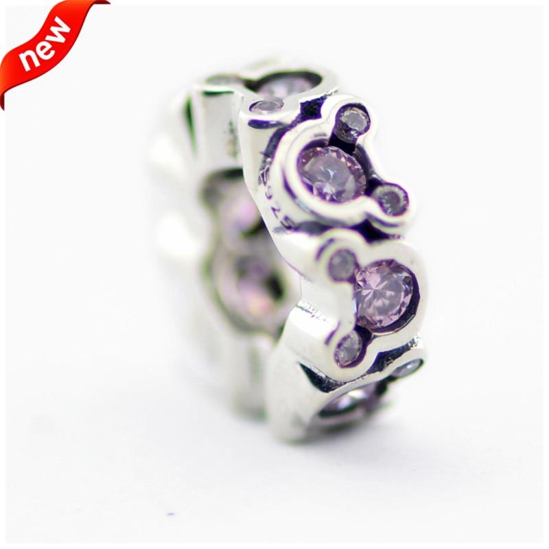 Подходит для Пандоры Braclets фиолетовый Мышь Spacer Талисманы 100% 925 стерлингового серебра Бусины Бесплатная доставка